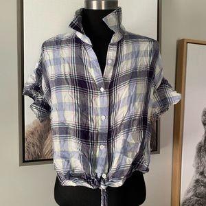 ❤️MOSSIMO❤️Plaid waist tie crop shirt bell sleeves